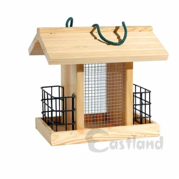 Bird feeder, natural wood