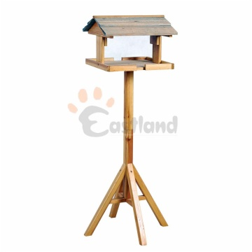 Bird feeder, with bracket, natural wood